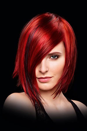 straight-bob-with-amazing-red-hair-colour at Gavin Ashley hair salon bury St Edmunds