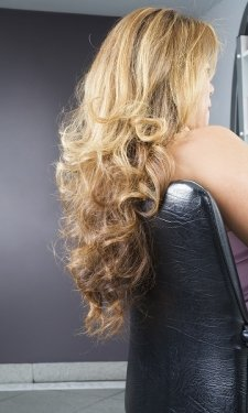 curly blow dried prom hair